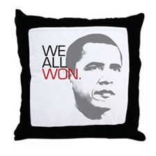 "Obama ""WE ALL WON."" Throw Pillow"