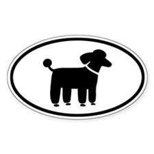 Black Poodle Oval Sticker (10 pk)