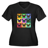 French Bulldog Women's Plus Size V-Neck Dark T-Shi