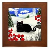 BLACK CAT WINTER BERRIES Framed Tile
