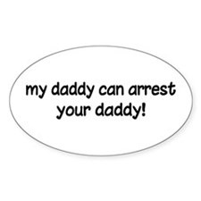 Funny Police Daddy Oval Decal