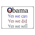 Obama: Yes we will Banner