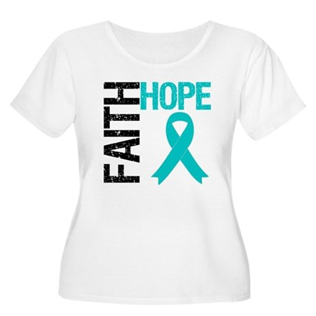 Faith Hope Teal Ribbon Women's Plus Size Scoop Nec