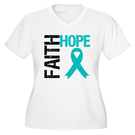 Faith Hope Teal Ribbon Women's Plus Size V-Neck T-