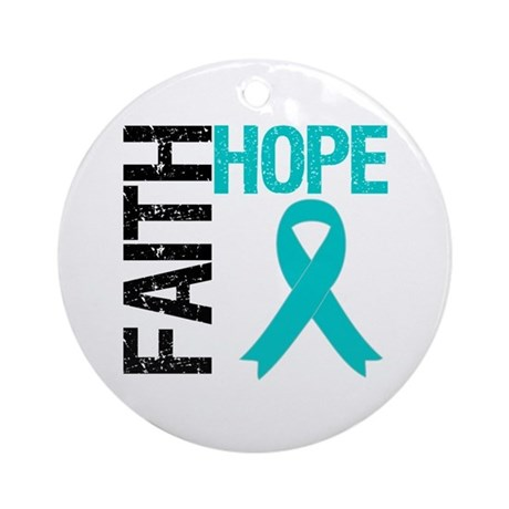 Faith Hope Teal Ribbon Ornament (Round)