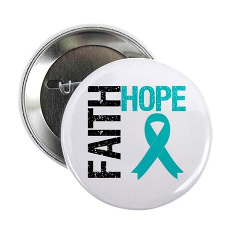 "Faith Hope Teal Ribbon 2.25"" Button (10 pack)"