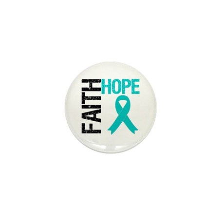 Faith Hope Teal Ribbon Mini Button