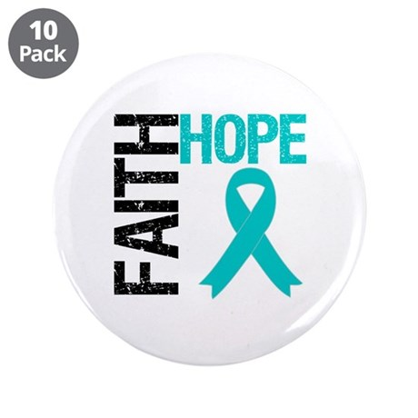 "Faith Hope Teal Ribbon 3.5"" Button (10 pack)"