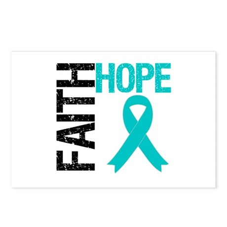 Faith Hope Teal Ribbon Postcards (Package of 8)