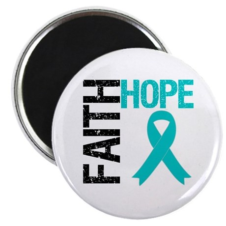"Faith Hope Teal Ribbon 2.25"" Magnet (10 pack)"