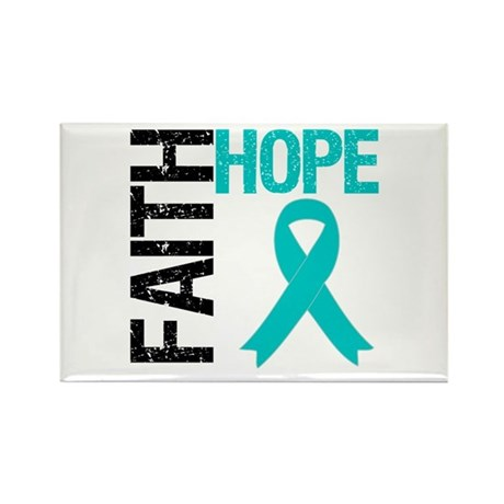Faith Hope Teal Ribbon Rectangle Magnet (10 pack)