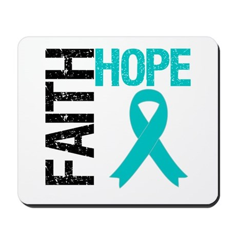 Faith Hope Teal Ribbon Mousepad
