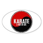KARATE A Way Of Life Yin Yang Oval Sticker