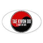 TAE KWON DO Way Of Life Yin Yang Oval Sticker