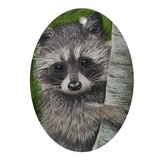 Raccoon Christmas Oval Ornament