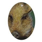 Wild Pig Christmas Oval Ornament