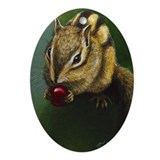 Chipmunk Christmas Oval Ornament