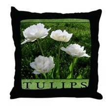 White Peony Tulip Throw Pillow