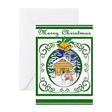Old Fashioned St Bernard Christmas Greeting Card
