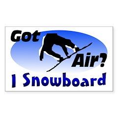 I Snowboard Rectangle Sticker 50 pk)