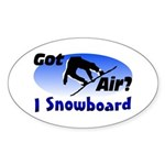 I Snowboard Oval Sticker (10 pk)