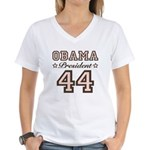 President Obama 44 Women's V-Neck T-Shirt