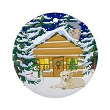 Old Fashioned Yellow Lab Christmas Ornament (Round