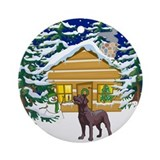 Old Fashioned Chocolate Lab Christmas Ornament (Ro
