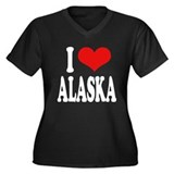 I Love Alaska Women's Plus Size V-Neck Dark T-Shir