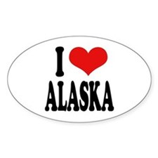 I Love Alaska Oval Decal