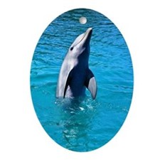 """Dancing Dolphin"" - Holiday Ornament Oval"