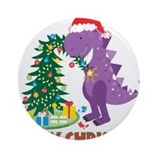 Dinosaur Christmas Ornament (Round)