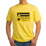 Caffeine Warning Dietary Worker Yellow T-Shirt