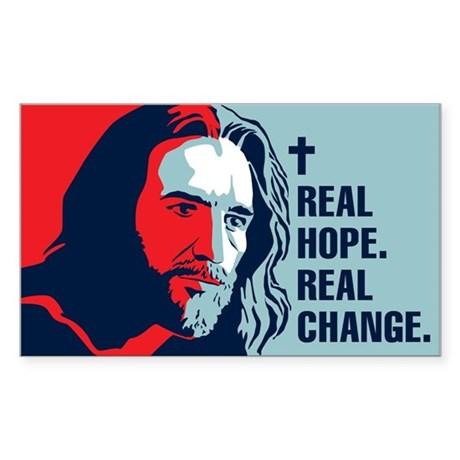 Real Hope. Real Change. Rectangle Sticker