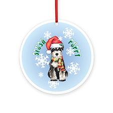 Holiday Miniature Schnauzer Ornament (Round)
