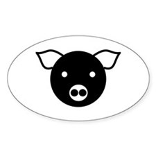 Laughing Pig Oval Decal