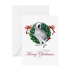 african grey christmas Greeting Card