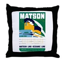 Matson Lines Luggage Label Throw Pillow