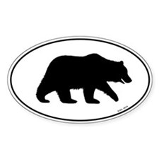 Grizzly Bear Oval Decal