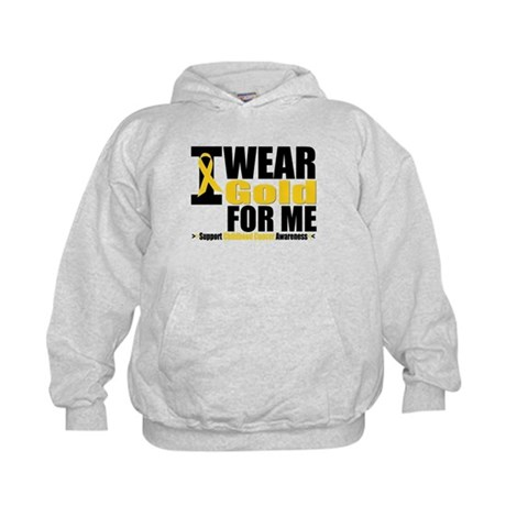 I Wear Gold Ribbon For Me Kids Hoodie