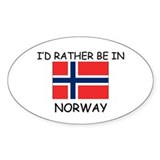 I'd rather be in Norway Oval Decal