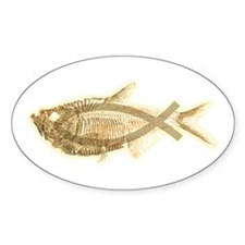 Fossil & Christian Fish Oval Decal