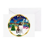 XmasMusic 3/ St Bernard #1 Greeting Cards (Pk of 1