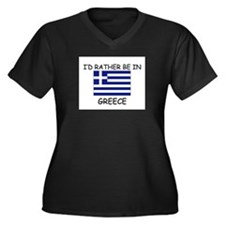 I'd rather be in Greece Women's Plus Size V-Neck D