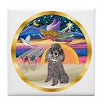 XmasStar/Silver Poodle #8 Tile Coaster