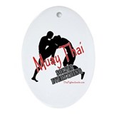 Muay Thai Solves Everything Oval Ornament