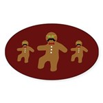Gingerbread Man Disguise Oval Sticker (10 pk)