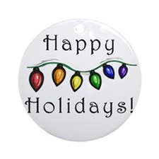happy holiday rainbow lights Ornament (Round)