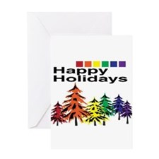 happy holiday trees Greeting Card