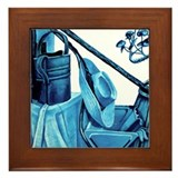 Monochrome Blue Still Life Framed Tile